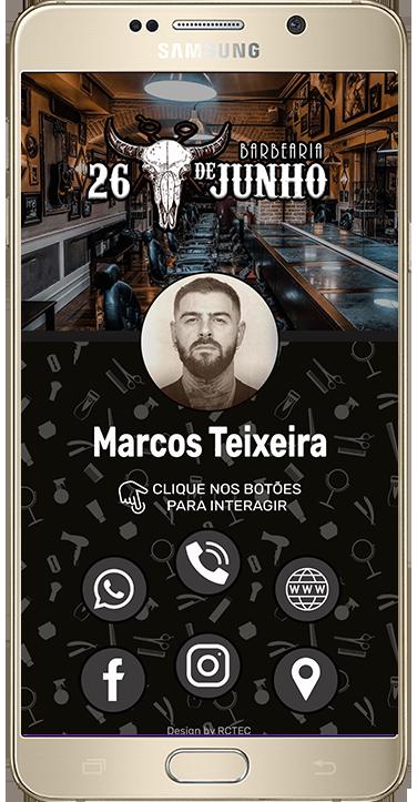 Portfolio Cartão Digital - Barbearia - Marcos Teixeira
